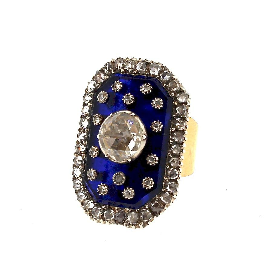 Antique Victorian Gold Rose Cut Diamond Blue Glass Panel Ring