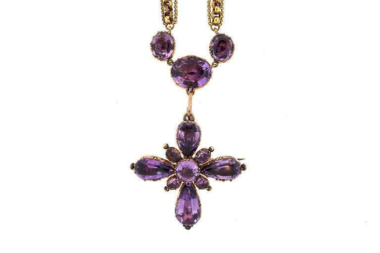 Early Victorian Amethyst Maltese Cross Gold Necklace