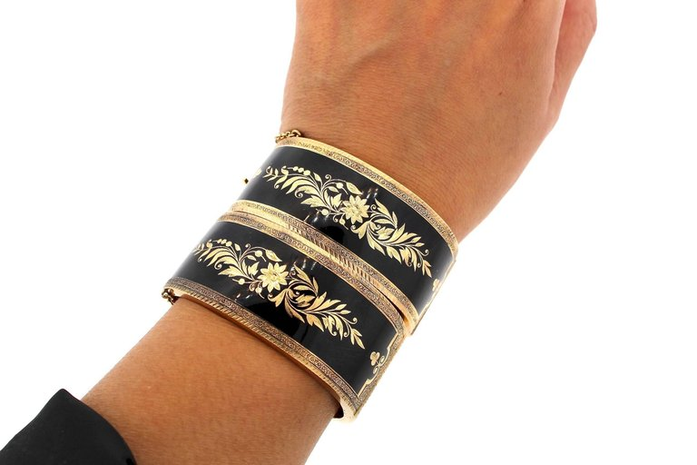 Pair of Antique Victorian Black Enamel Gold Mourning Bangles