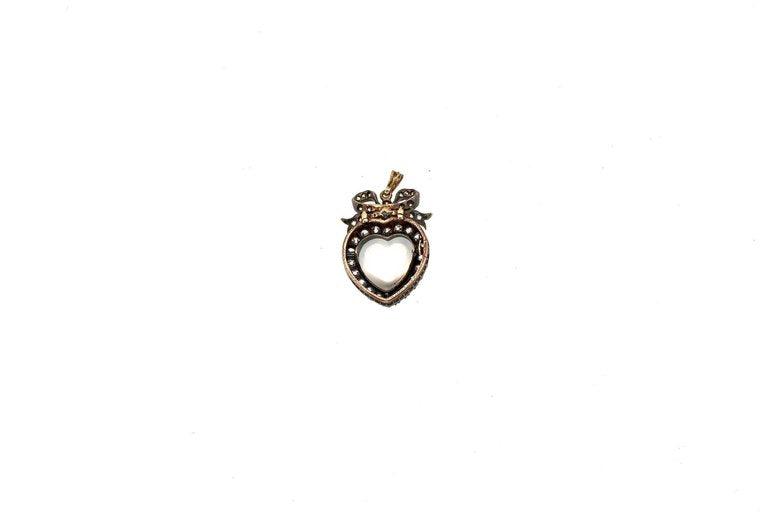 19th Century Silver Topped Gold Moonstone Diamond Heart Pendant