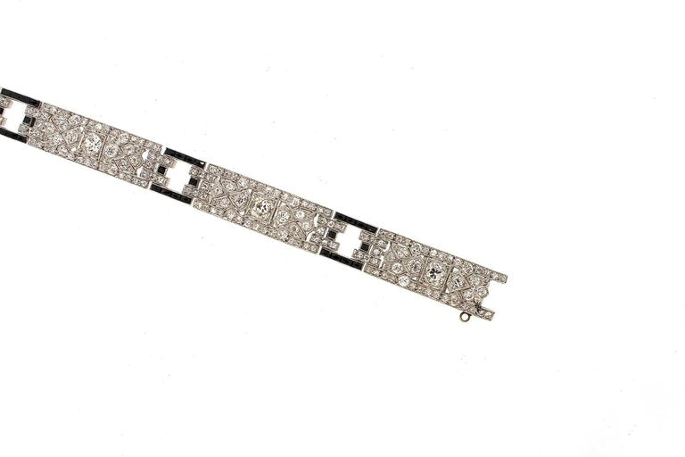 Art Deco Diamond Platinum French Cut Onyx Link Bracelet
