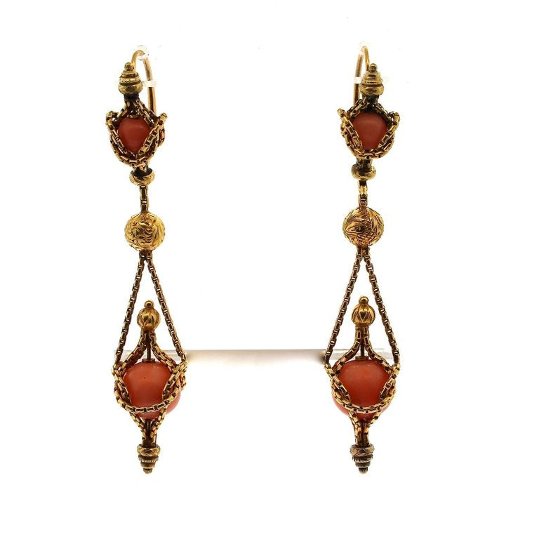 Victorian Etruscan Revival Gold Coral Dangling Earring