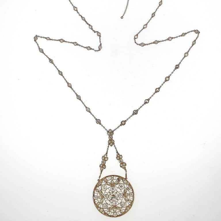 Edwardian Platinum Diamond Sautoir Pendant Necklace, circa 1910