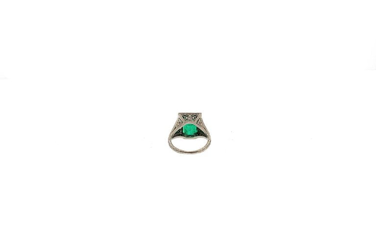 Art Deco AGL Certified Emerald Diamond Platinum Ring
