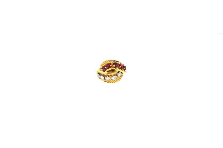 Van Cleef & Arpels 18 Karat Gold Ruby Diamond Bypass Ring