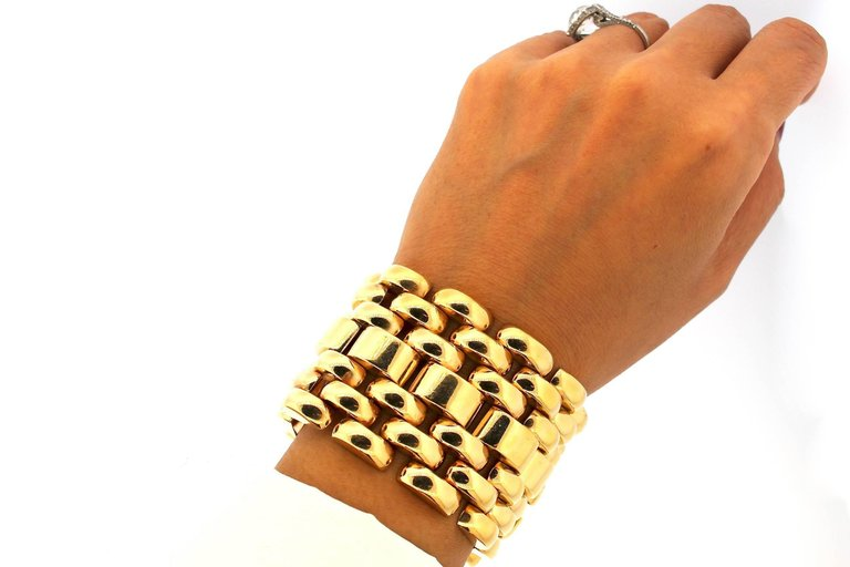 Modernist Retro 18 Karat Yellow Gold Wide Tank Bracelet