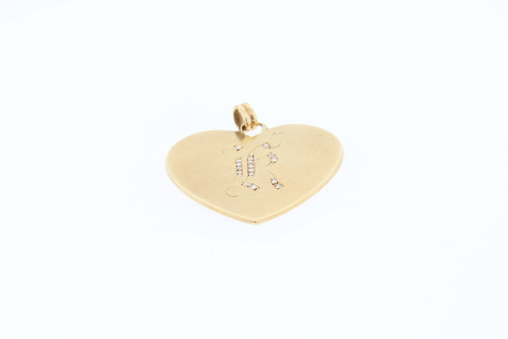 "Vintage Large Heart 14k Gold With Diamond Initial ""K"""