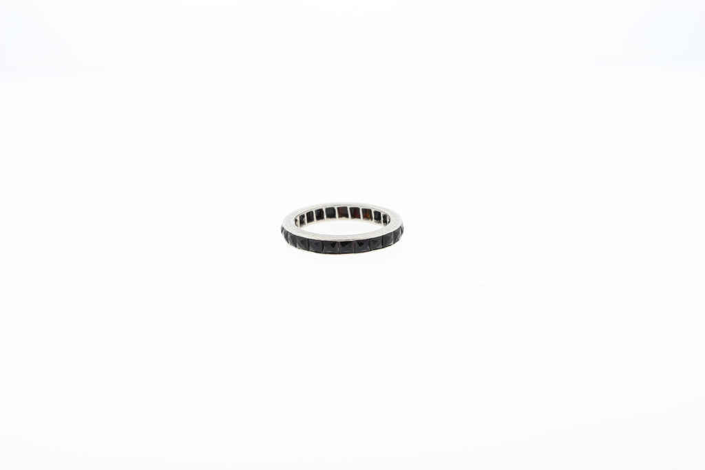 Art Deco French Cut Onyx Platinum Wedding Band