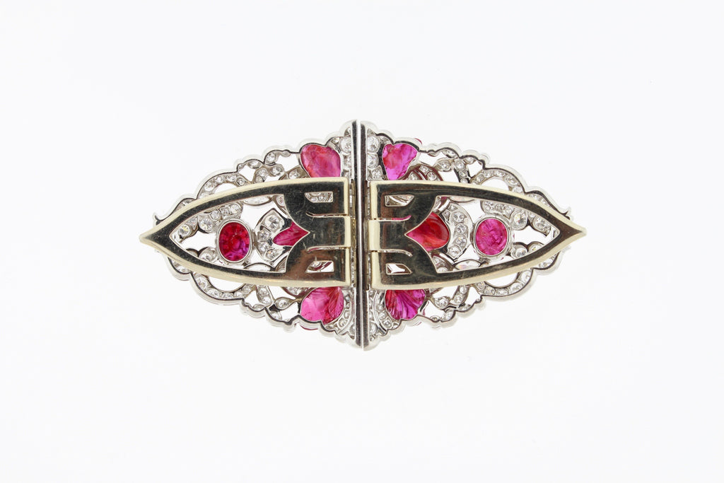 Art Deco Carved Ruby Diamond Platinum Double Clip Pin