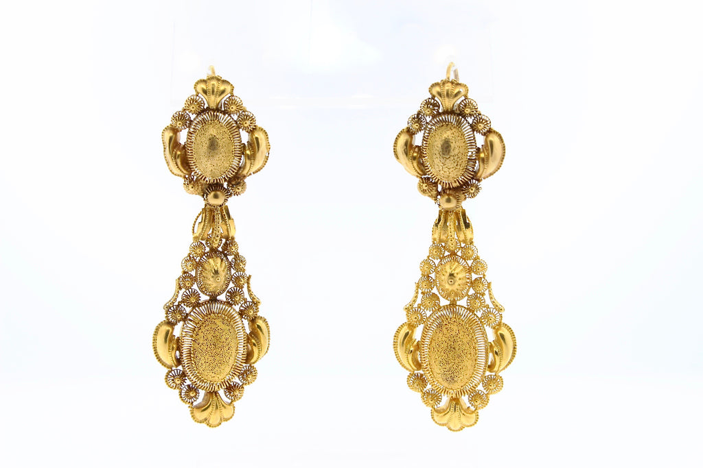 Georgian 18k Gold Cannetille Day Night Pendant Earrings