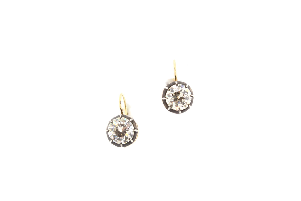 Old European Cut Pair of Diamond Earrings 1.53 and 1.58 Carats