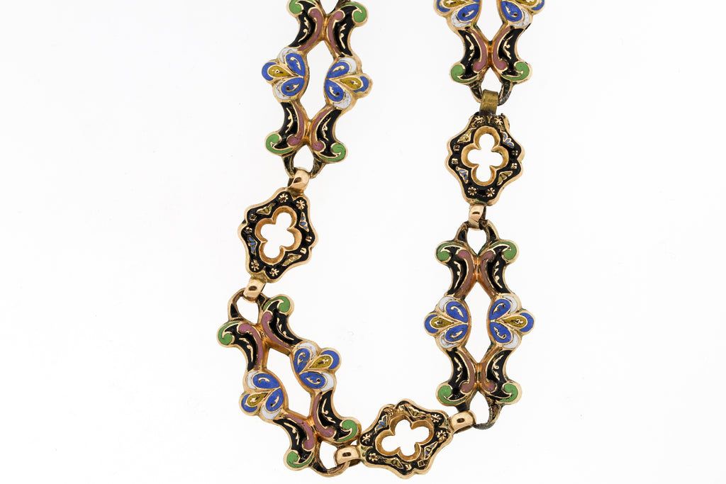 Rare Antique Swiss Enamel Long Gold Chain Necklace