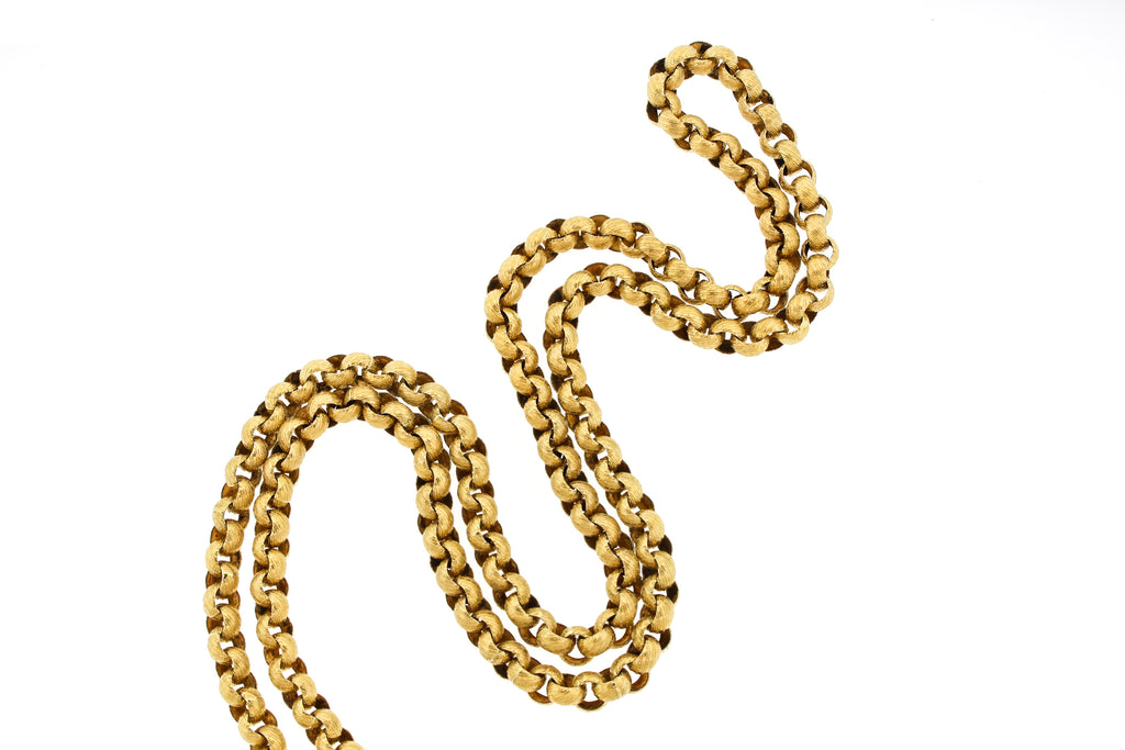 French Georgian 14k Gold Wide Link Muff Chain