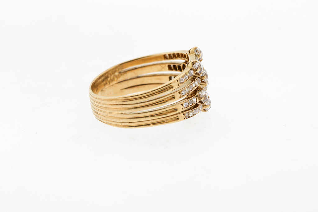 Vintage Rosecut Diamond Gold Harem Ring
