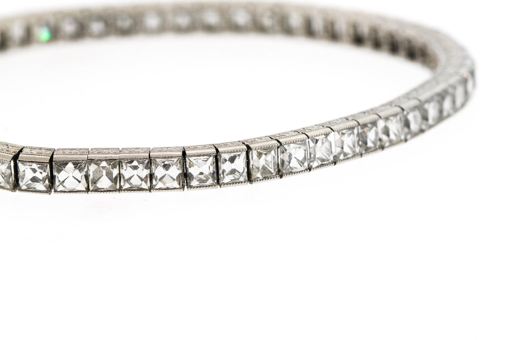 Art Deco Platinum French Cut Diamond Straightline Bracelet