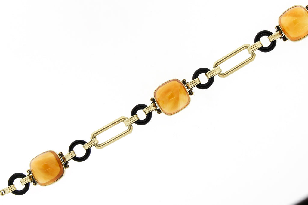 Cartier Retro 1940s 14k Gold Buff Top Citrine Enamel Bracelet