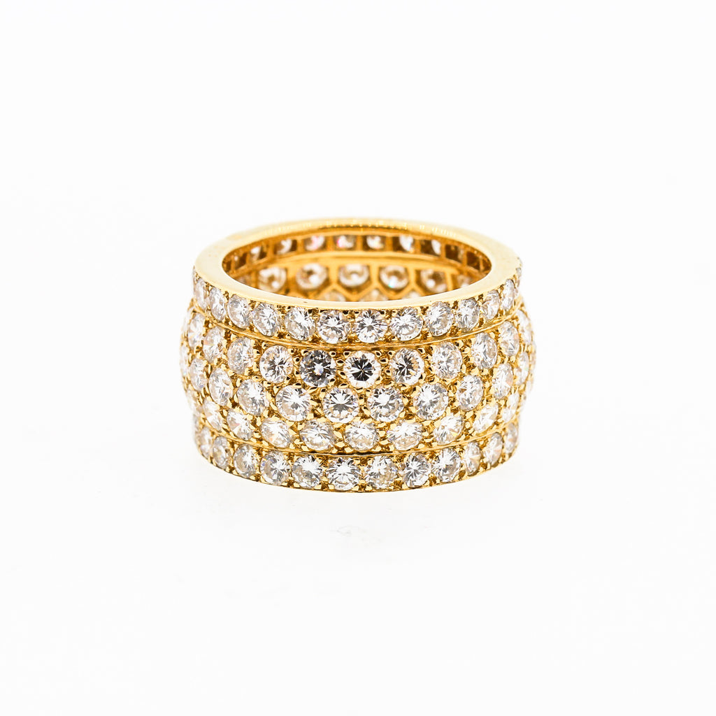 Cartier Wide Diamond 18 Karat Yellow Gold Five-Row Ring