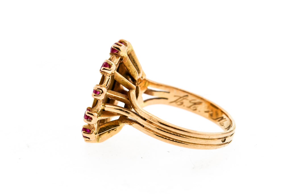 Vintage Modern French 18k Gold Ruby Ring