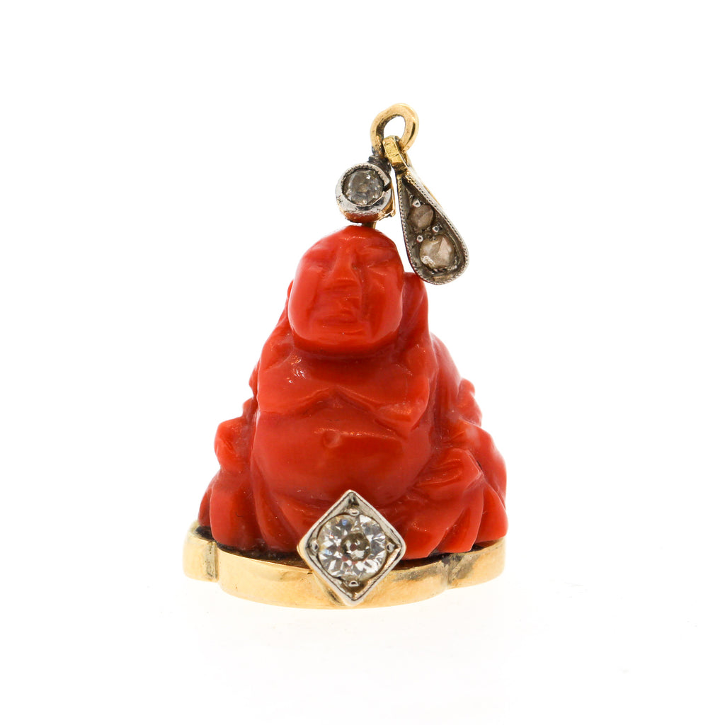 Vintage 18k Gold Carved Coral Diamond Buddha Pendant Charm