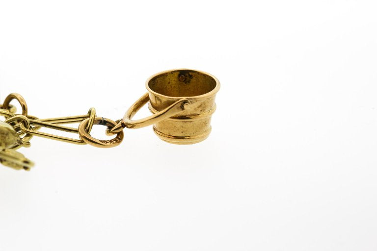 Retro 14 Karat Yellow Gold Charm Bracelet