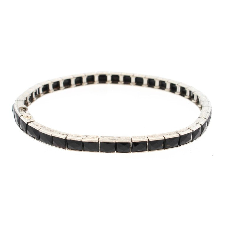 Platinum French Cut Onyx Line Bracelet