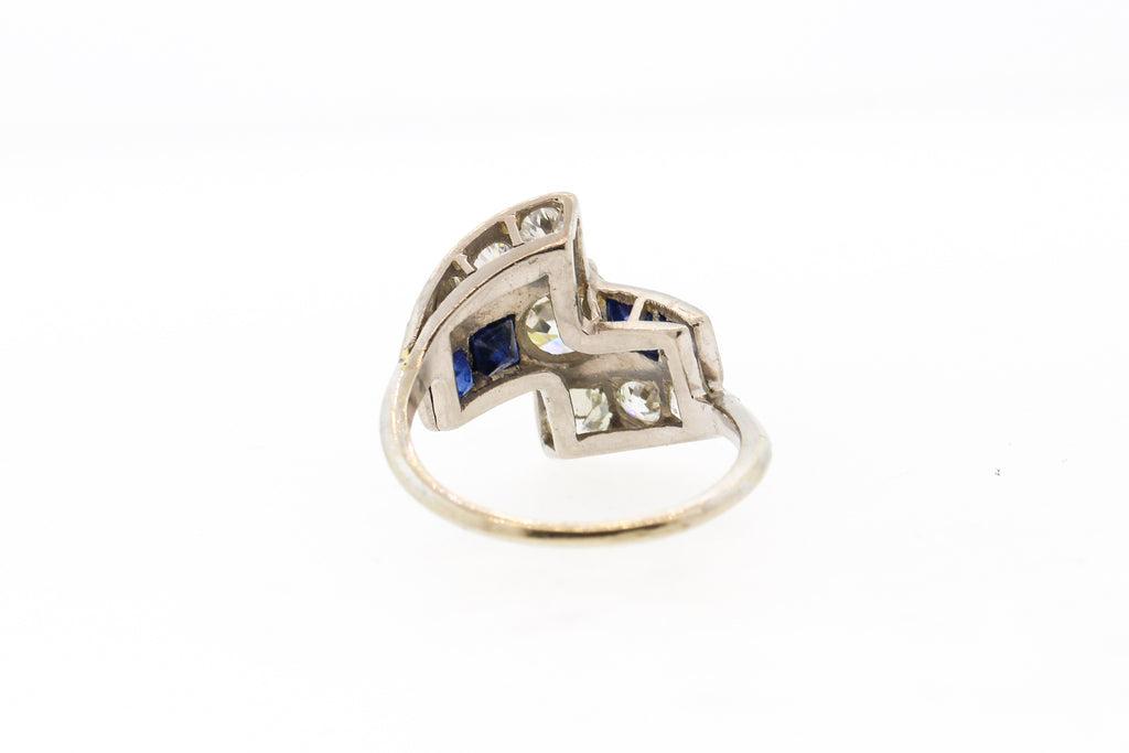 Vintage Mid-Century Platinum Diamond Sapphire Cocktail Ring