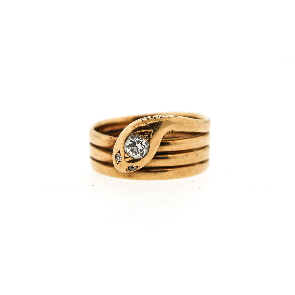 Vintage Antique 14k Gold Coiled Snake Ring Set with Diamond