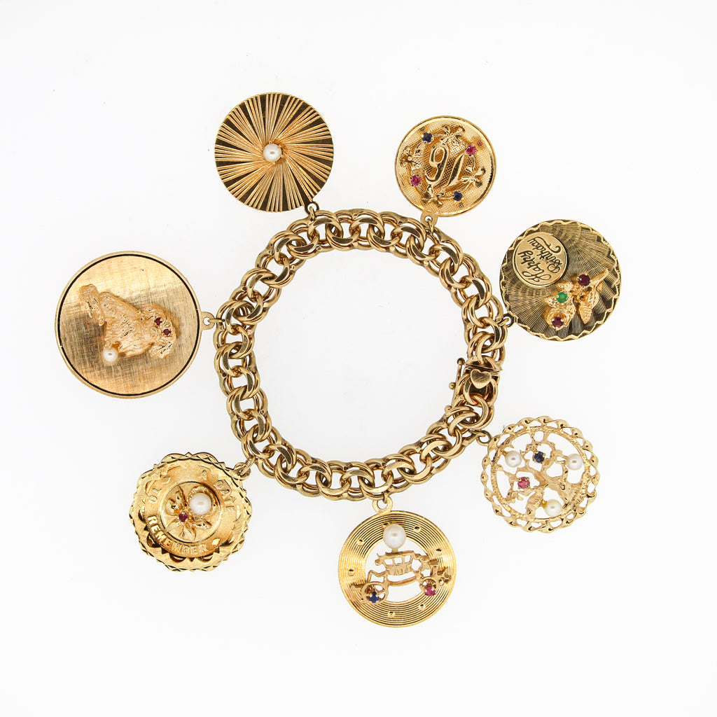 Mid-Century 14k Yellow Gold Chunky Disc Charm Bracelet