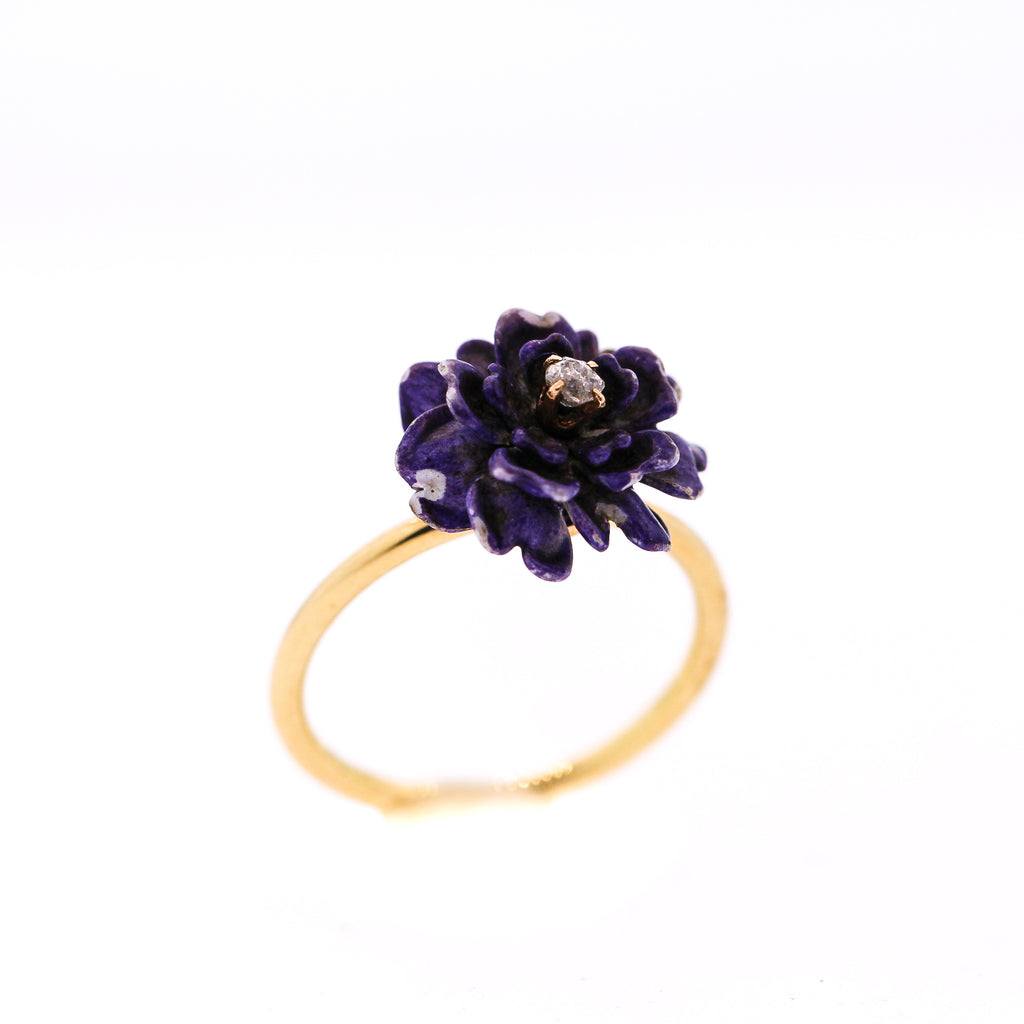 Vintage 18k Gold Purple Enamel Chrysanthemum Flower Conversion Ring