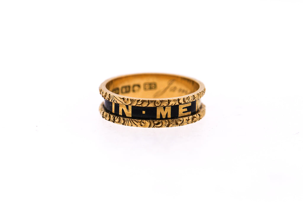 Victorian Black Enamel 18k Engraved Gold Memorial Band