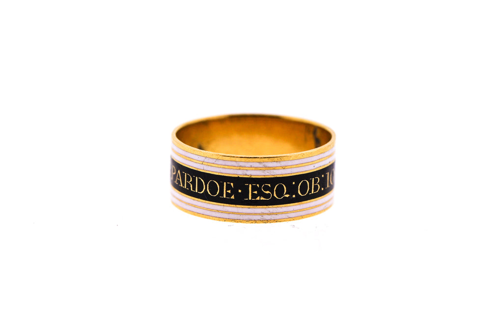 Victorian Black and White Enamel Memorial Band