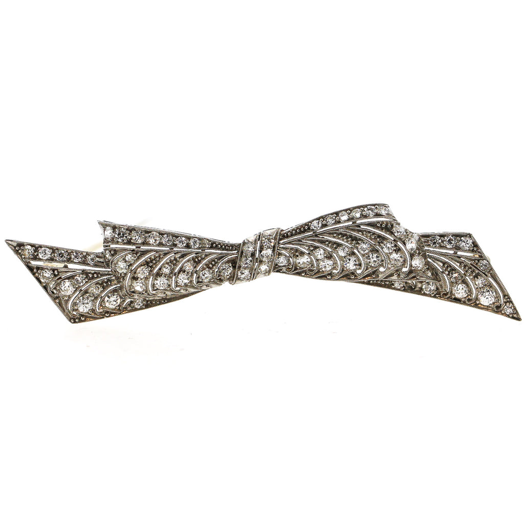 Art Deco Pierced Platinum Diamond Bow Brooch