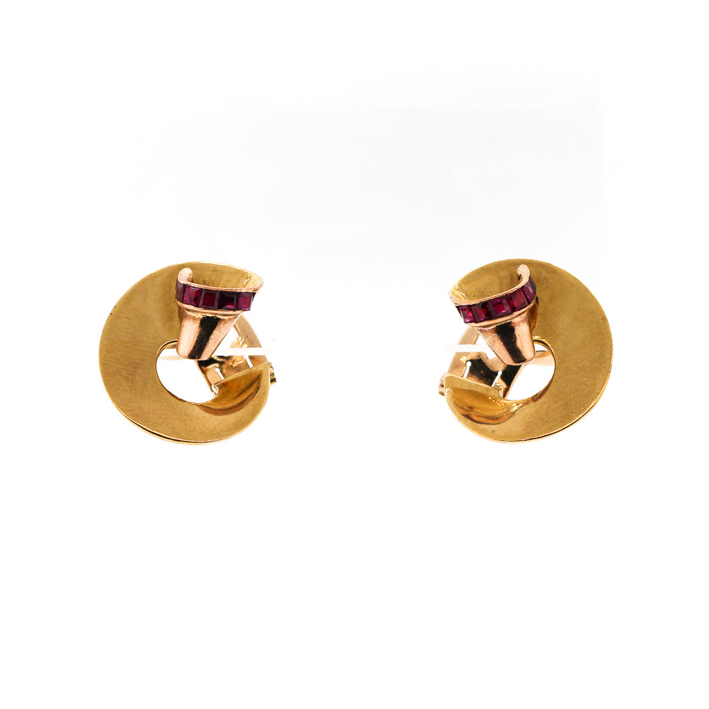 Retro 14k Yellow Gold Ruby Swirl Earrings