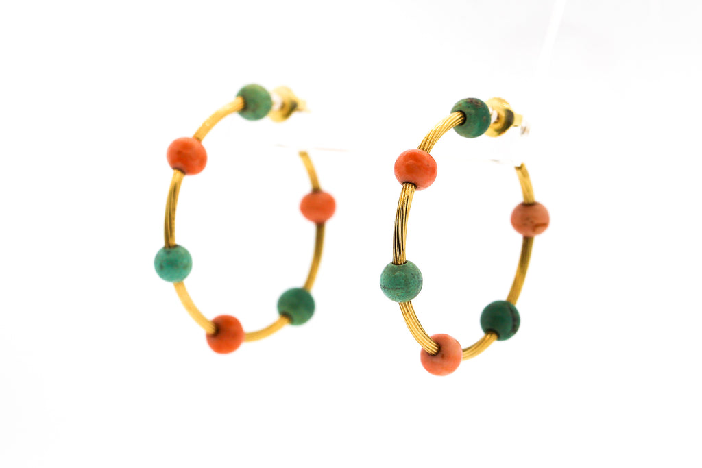 Vintage 1960s 18k Yellow Gold Turquoise Coral Hoop Earrings