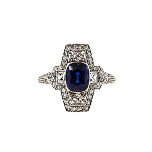 Art Deco Tiffany & Co. Platinum Cushion Sapphire Diamond Ring