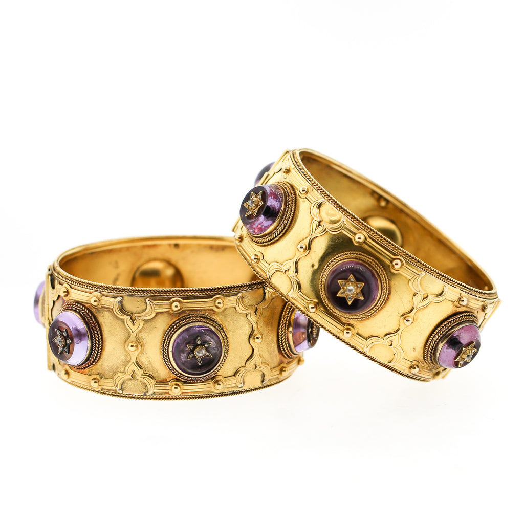 Antique Victorian Pair of Amethyst Diamond Cuff Bracelets by Carlo Giuliano