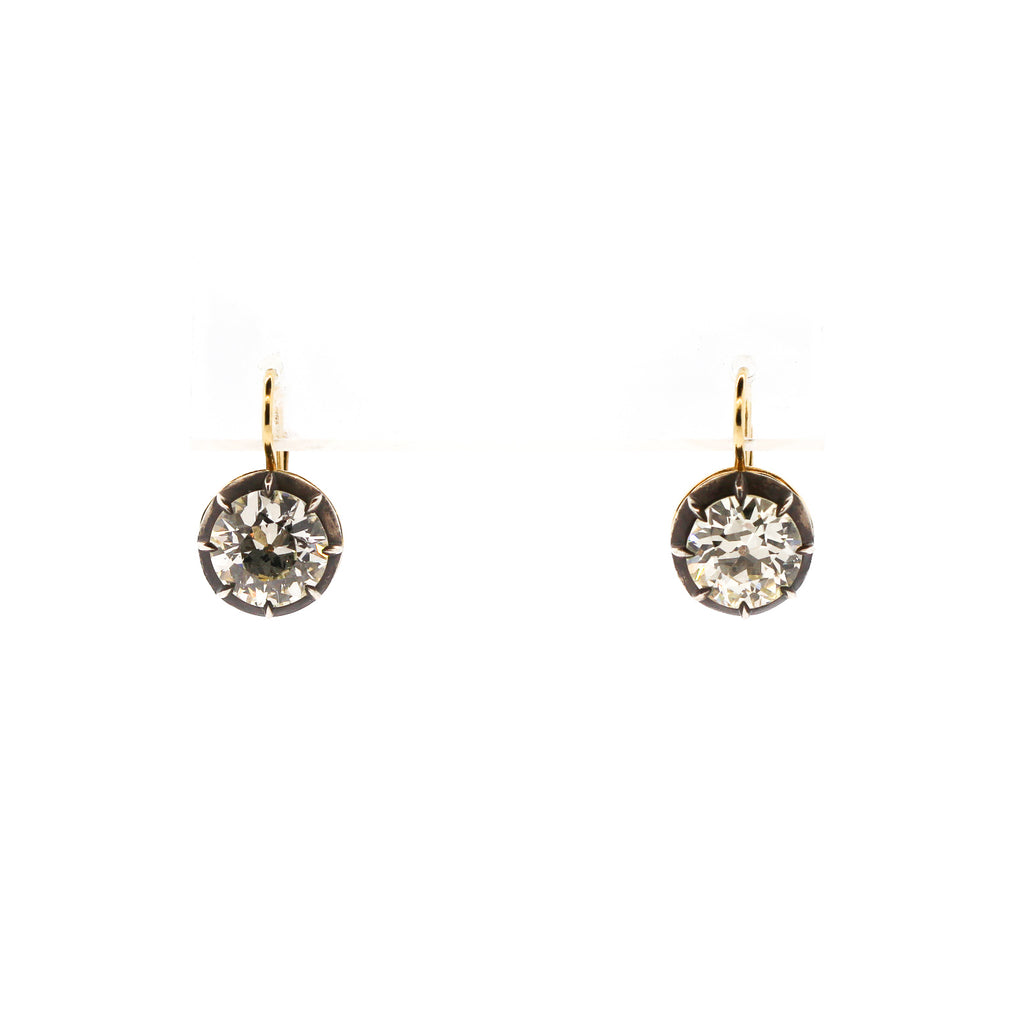 Antique Style Old European Cut Diamond Drop Earrings 2.71 and 2.80 carats