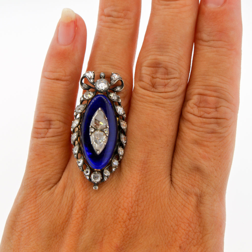 Georgian Rosecut Diamond Blue Glass Gold Navette Ring With Bow
