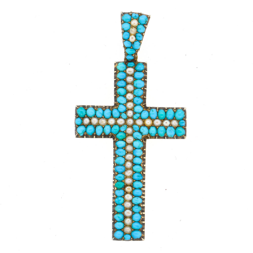 Early Victorian 14 Karat Gold Turquoise Split Pearl Cross Pendant