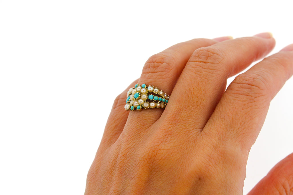 Georgian Turquoise Split Pearl Engraved Gold Ring