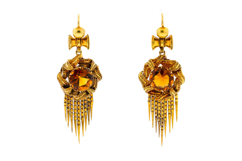 Victorian Round Citrine 14 Karat Gold Fringe Pendant Earrings
