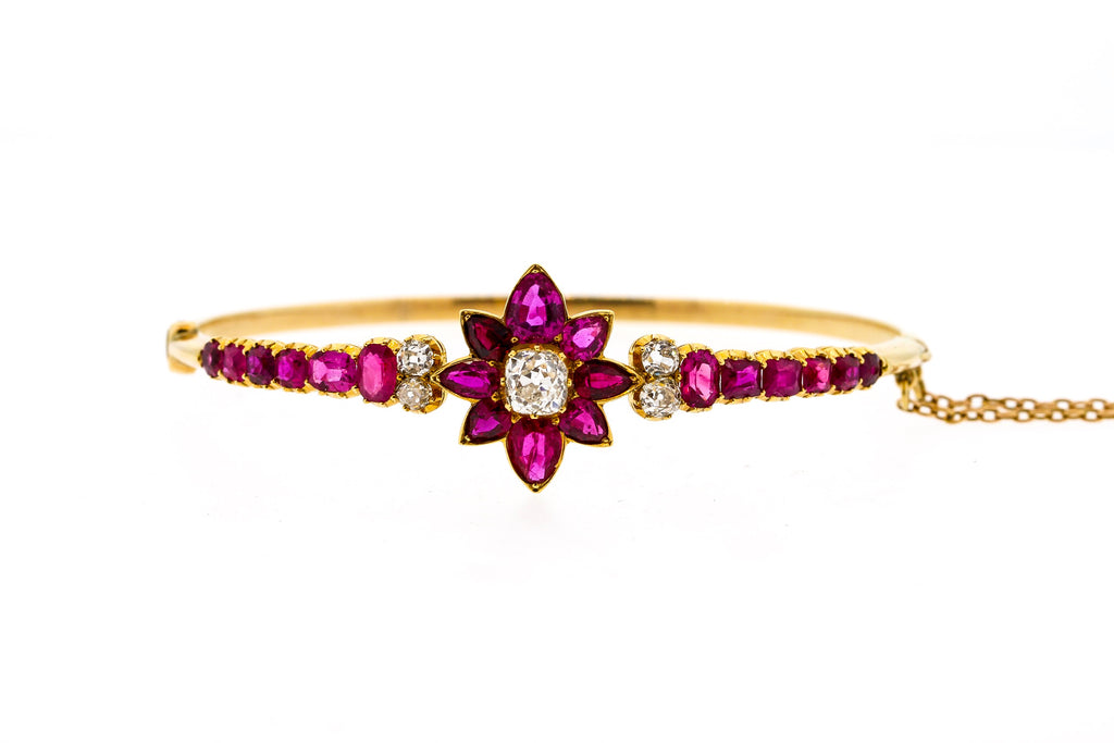 Victorian 18k Yellow Gold Ruby and Diamond Bangle Bracelet