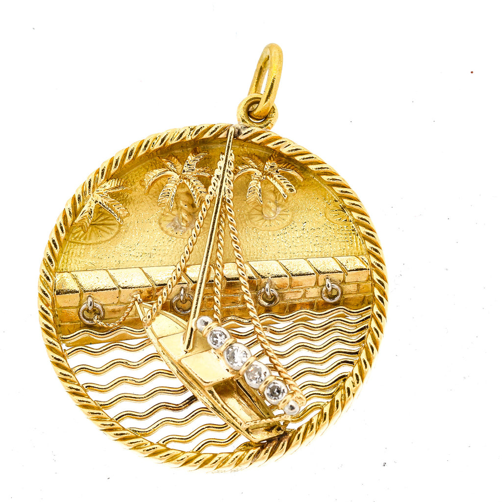 Vintage 18k Yellow Gold Sailboat Charm French by Gubelin