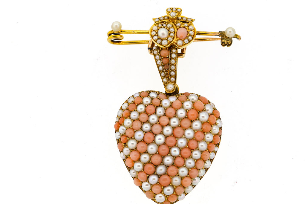 Victorian 18k Gold Coral Pearl Heart Locket Pendant Pin