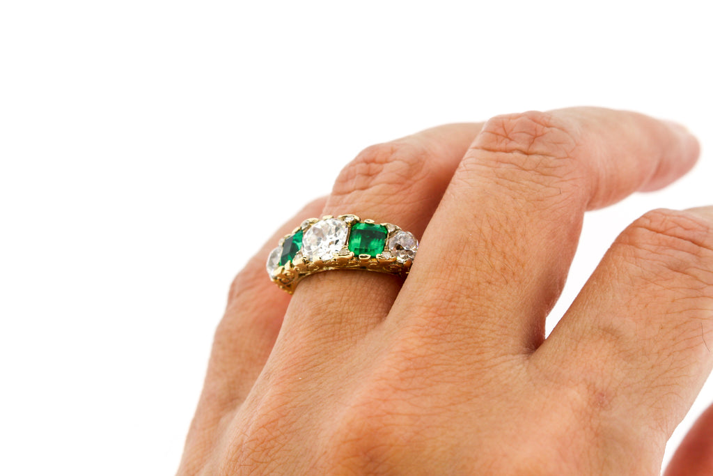 Victorian Emerald Diamond Half Hoop 18K Five Stone Ring