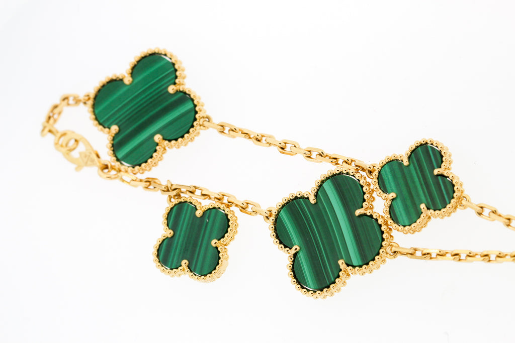 Van Cleef & Arpels Malachite Magic Alhambra 5 Motif Bracelet