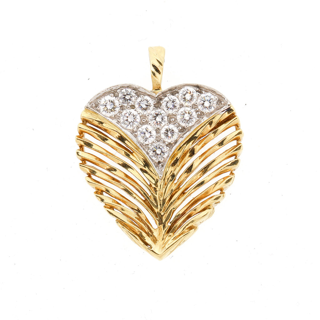 Vintage 18k Gold Diamond Textured Heart Pendant by Kutchinsky