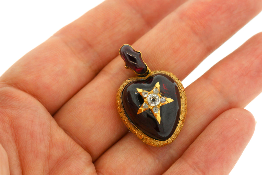 Antique Victorian 18K Gold Cabochon Garnet Diamond Heart Pendant