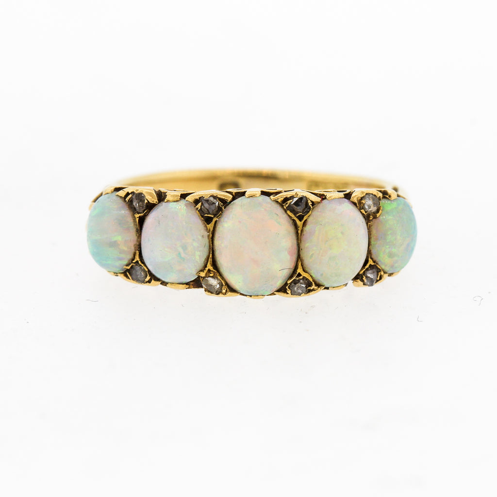 English Victorian Five Stone Opal Gold Ring