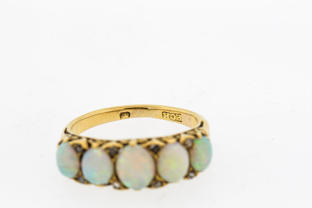 Antique English 18k Yellow Gold Opal Five Stone Ring